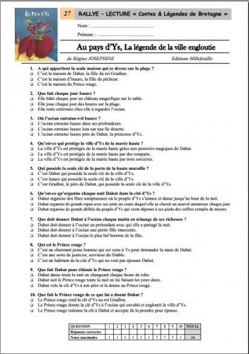 Célèbre Un rallye-lecture sur les Contes & Légendes de Bretagne - Niveau  IV33